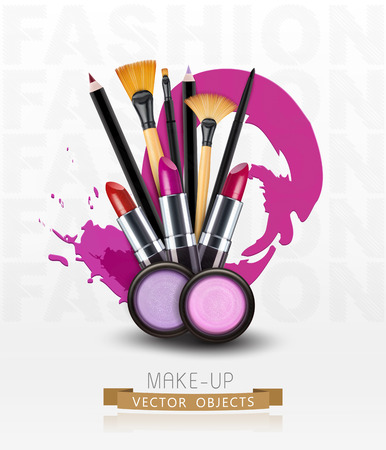 makeup brush: vector background with cosmetics and make-up objects. (Flyer template)