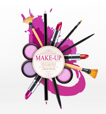 lip gloss: vector background with cosmetics and make-up objects and place for text. (Flyer template)