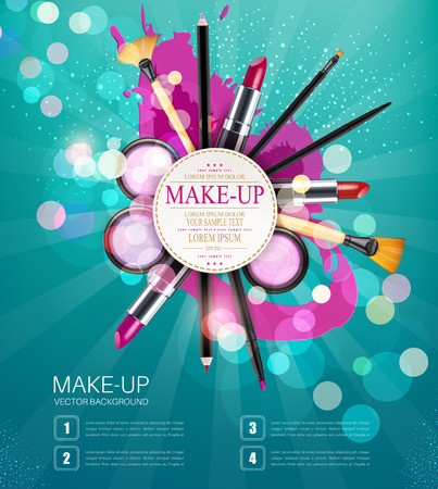 eyeliner: vector background with cosmetics and make-up objects and place for text. (blue flyer template)