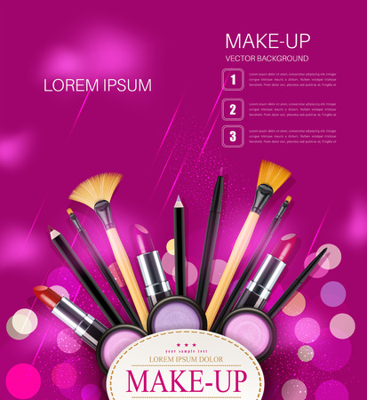 make up products: vector background with cosmetics and make-up objects and place for text. (pink flyer template) Illustration