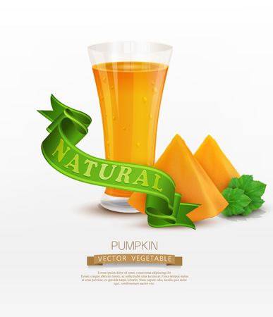 juicy: vector background with slices of pumpkin and green ribbon isolated on white background