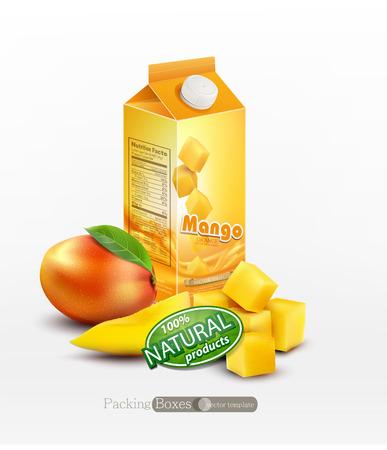 mango juice: Vector pack of mango juice with slices and diced mango, isolated on white background