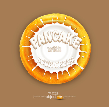 dough: vector pancake with a splash of sour cream, isolated on a brown background