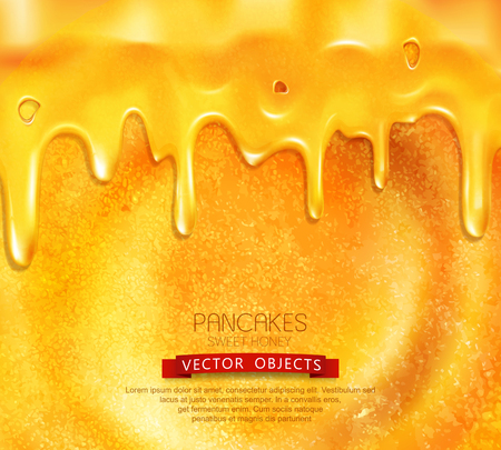 vector pancake with honey close-up