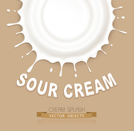 spurt: vector isolated splash of sour cream on a brown background