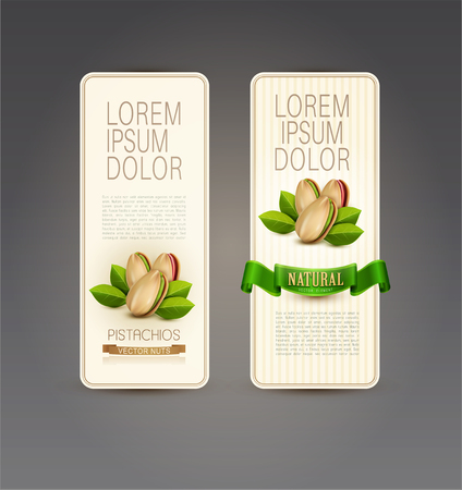 nut: Vector set of labels with pistachios Illustration