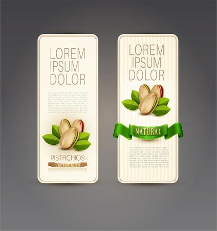 pistachios: Vector set of labels with pistachios Illustration