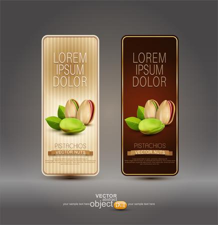 pistachio: Vector set of labels with pistachios Illustration
