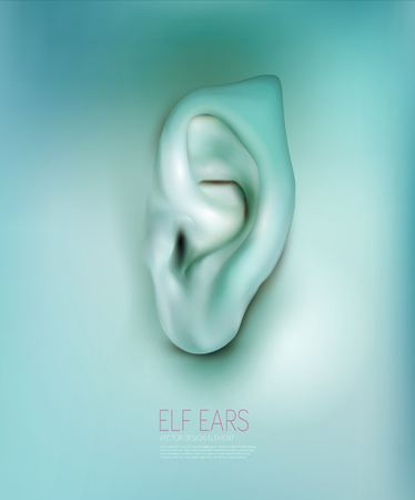 ears: vector background with realistic ear elf Illustration