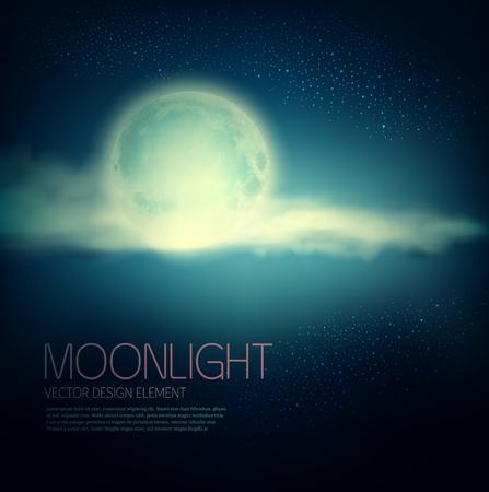 cielo de nubes: Fondo del vector de la vendimia con la luna llena y las nubes sobre un fondo azul oscuro