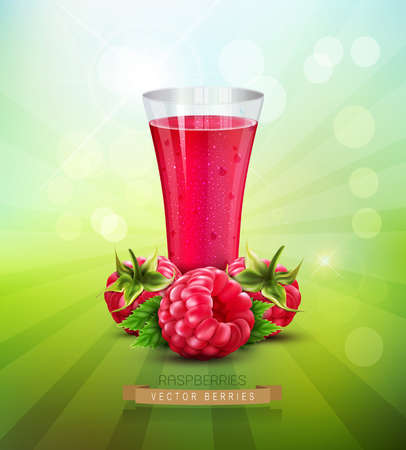 vector background with a raspberry and a glass glass of raspberry juice