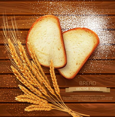 closeup: vector background with slices of sliced bread (loaf) lying on the wooden background of scattered with flour and wheat ears