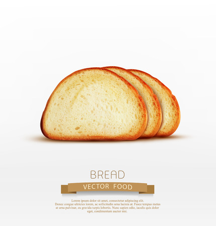 white bread: Vector bread. Pieces of long loaf isolated on white background Illustration