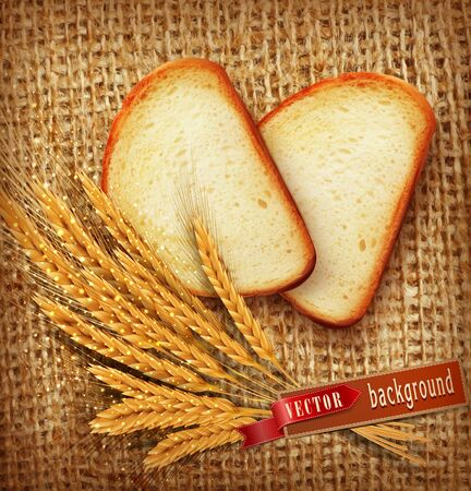 bread: vector background with slices of sliced bread (loaf) lying on the background of burlap with of scattered flour and wheat ears Illustration