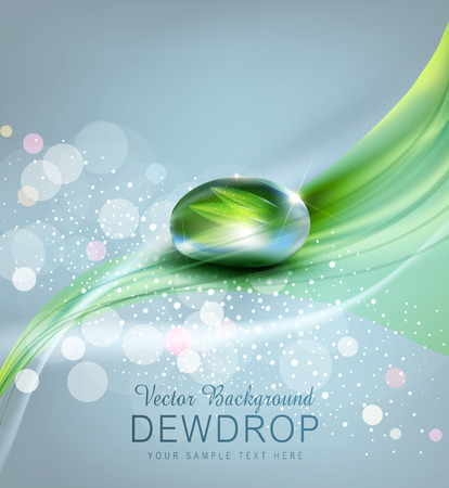 morning dew: vector background with a drop of dew and reflection sheet in dew drop