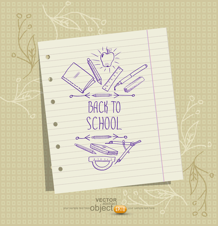 hand pen: vector background with a sheet of notebook and school pictures (sketches) Illustration