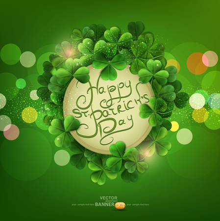 vector Vintage circle with space for text in a frame of shamrocks on green background, the holiday St. Patrick