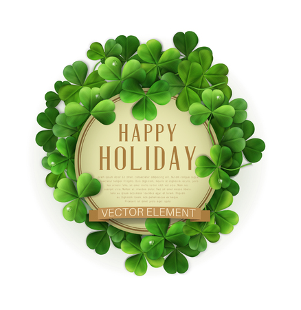 vector vintage circle with space for text in a frame of shamrocks. on a white background (element for design) for the holiday St. Patrick