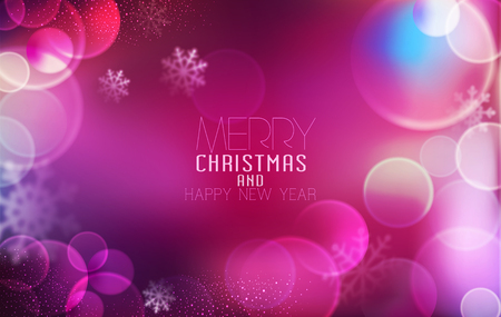 blur: Vector background for Christmas and New Year. Bright, festive pink background with blur and snowflakes Illustration