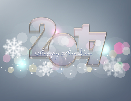 year greetings: vector background for the New Year. Glass figures 2017 on a gray background with snowflakes Illustration