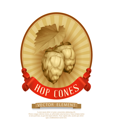 hop cone: Vector label (sticker) with cones of hops in vintage style.
