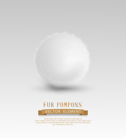 pompom: Vector element for design: a fur pompon (clump of snow) isolated on white background