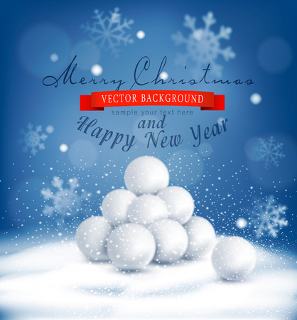 hailstone: Christmas background with a bunch of snowballs lying in the snow