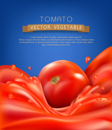 hot: vector background with splashes, waves of red tomato juice and tomato. isolated on blue background