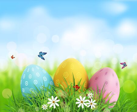 Vector background. Easter eggs in green grass with white flowers, butterflies on blue, blurred , natural background Illustration