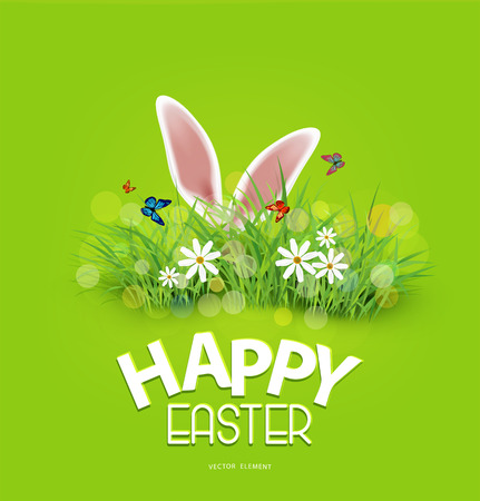 Vector background for Easter. Template. Rabbit ears sticking out of the grass.