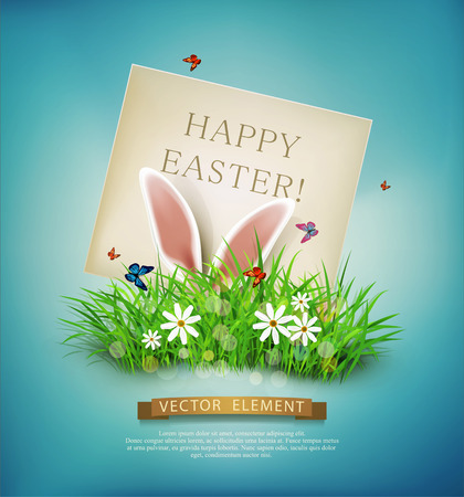 sticking: Vector vintage, realistic background for Easter. Template. Rabbit ears sticking out of the grass and the card with place for congratulations. Illustration