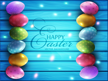 Vector background for Easter. Colored eggs lying on a blue wooden board