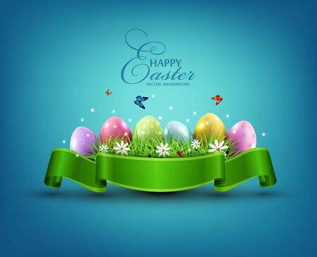 Vector Easter eggs with grass and flowers in green ribbon isolated on a blue background. Element for celebratory design. Illustration