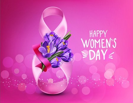 Vector background to the 8th of March (Women's Day). Template design card. Number 8, ribbons with a bouquet of blue crocus.