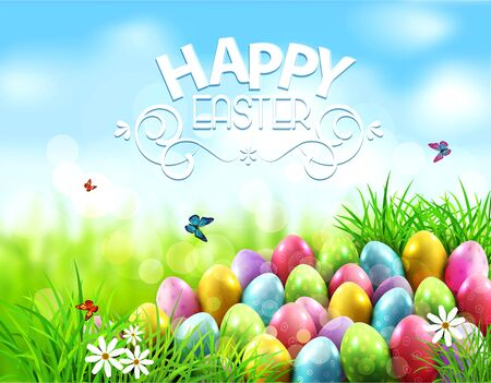 easter background: Vector background. Easter eggs in green grass with white flowers, butterflies on blue, blurred , natural background Illustration