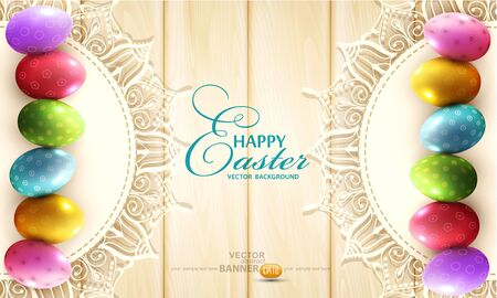 wooden circle: Vector vintage background with a circle of lace and easter eggs on the wooden background Illustration