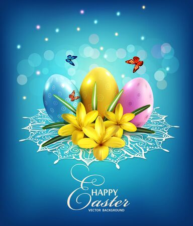 springtime background: Vector Easter background with eggs, crocus on a blue background and lace Illustration
