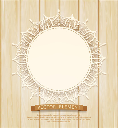 wooden circle: Vector vintage background with a circle of lace on the wooden background