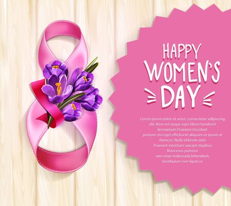 Vector background to the 8th of March (Womens Day). Template design card. Number 8,  ribbons with a bouquet of blue crocus on a wooden background