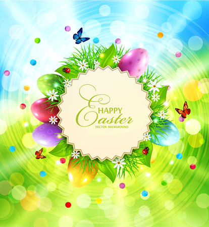 vector Easter background with a round card for text, grass and eggs Illustration
