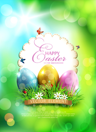 Vector easter background, with eggs, grass and round card for text