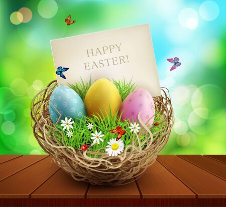 Vector easter background with basket and eggs, standing on a wooden table. Element for design