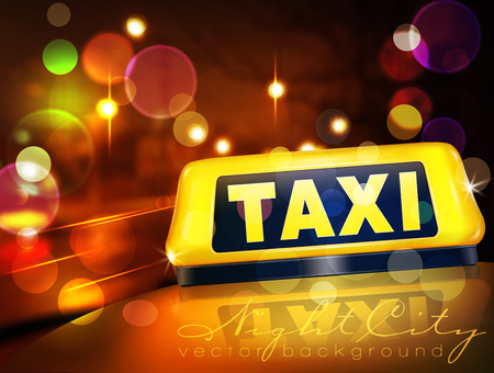 Vector yellow taxi sign on the car against the lights of the night city