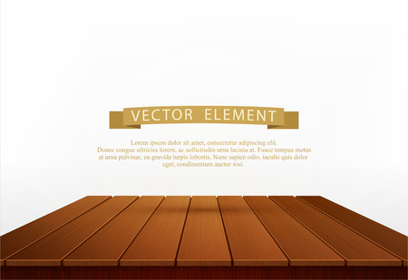 furniture design: Vector wooden table isolated on white background. Element for design