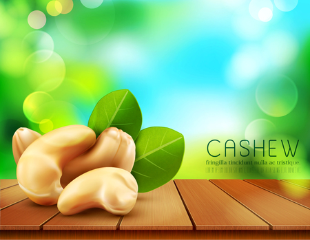 Vector group of cashew nuts lying on a wooden table on the background of the sky and green foliage Illustration