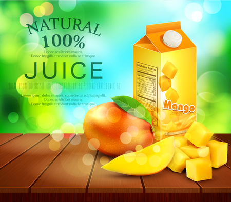 plant stand: Vector pack of mango juice with slices and diced mango standing on a wooden table on the background of the sky and green foliage Illustration