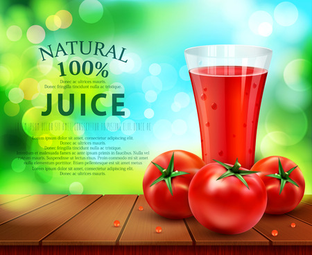 vector with a glass of tomato juice, tomatos standing on a wooden table on the background of the sky and green foliage