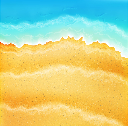 Vector background with sea sand and waves Illustration