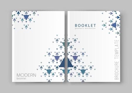 magazine design: Vector illustration of a brochure template. Modern booklet, flyer, cover business report. Geometrical elements ( triangles). Abstract background for business design.