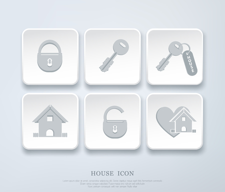 concept: Set of vector icons with small house, key, open, closed lock